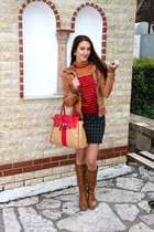 camel bag - tawny wedge Mia boots - tawny leather jacket Bershka jacket