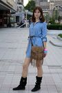 Blue-zara-dress-black-papucei-boots-beige-bershka-purse