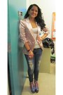Periwinkle-boots-blue-divine-rights-jeans-light-pink-blazer