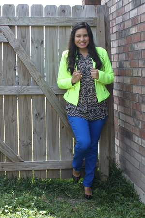 neon tweed ANA jacket - tribal print Kardashian Kollection blouse