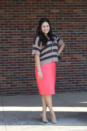 Jcrew skirt - stripes French Connection sweater