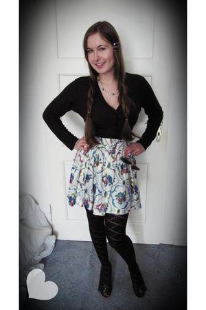 black Zara sweater - white H&M skirt - H&M tights - black - shoes - white grandm