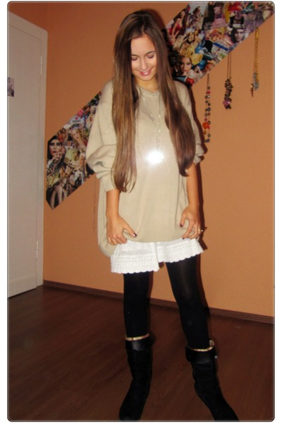 tan from my father sweater - black unknown brand shoes - black H&M tights - whit