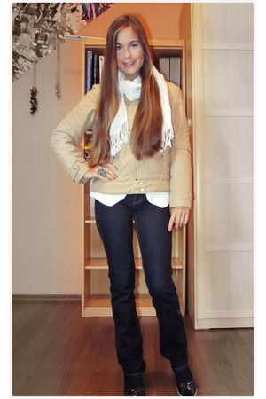 white c&a scarf - some German brand jacket - blue H&M jeans - black unknown shoe