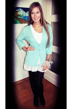 aquamarine H&M cardigan - white unknown dress - black H&M tights - puce Sfera ea