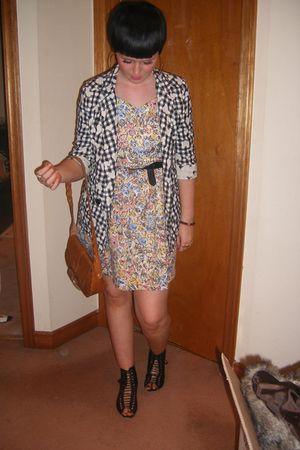 vintage bag - black vintage shoes - Topshop blazer - vintage dress - wintage bel