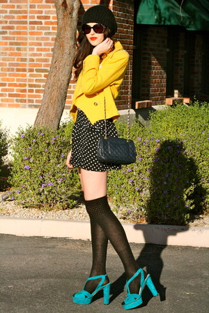 black polka dot free people shorts - yellow Jacket jacket