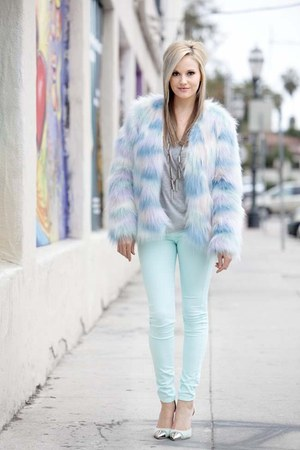 light blue Nasty Gal coat - light blue Nasty Gal jeans - silver Nordstrom shirt