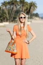 Pop of Bold: Skater Dress, Color Block Heels, and Confetti Purse
