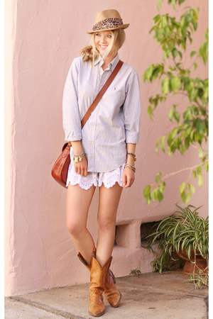 Frye boots - Eugenia Kim hat - Polo Ralph Lauren shirt - Fossil bag