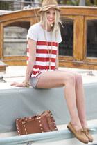 Eugenia Kim hat - Michael Stars shirt - Hammitt bag - Michael Stars shorts