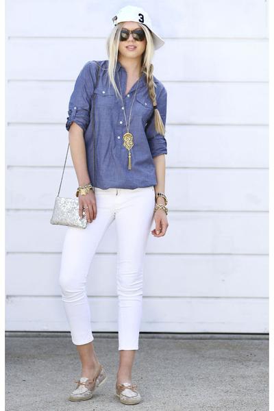 blue J Crew shirt - white Ralph Lauren hat - beige BCBGeneration bag