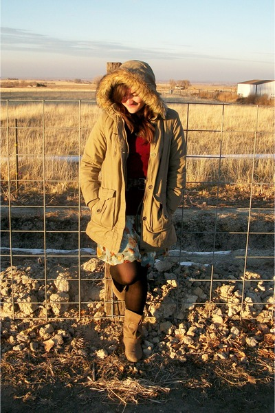 light blue Rue 21 dress - light brown Payless boots - tan sears jacket