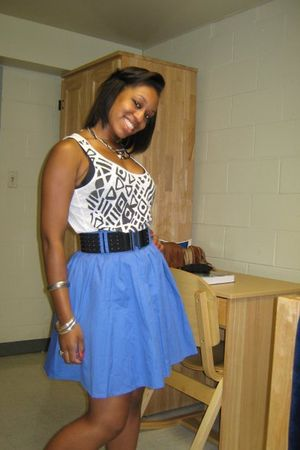 black Forever 21 blouse - black Forever 21 belt - blue H&M skirt