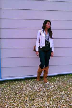 ivory Urban Outfitters jacket - tawny Bamboo boots - navy True Religion jeans
