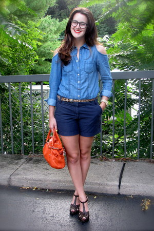 Forever 21 top - kate spade bag - JCrew shorts - Zara belt