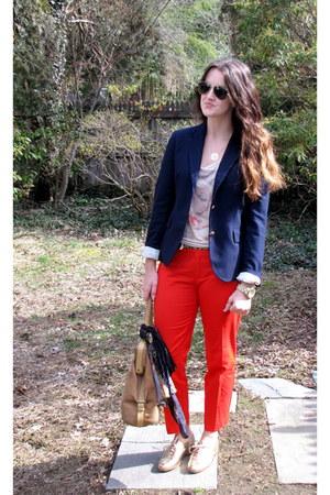 JCrew blazer - kate spade shoes - Zara bag - Zara t-shirt - Gap pants