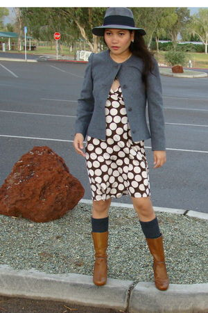 gray Givenchy blazer - brown dress - brown Biviel boots - gray socks - gray Targ