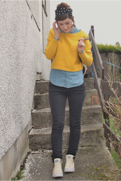 yellow cropped jumper H&amp;M jumper - sky blue denim shirt Peacocks shirt