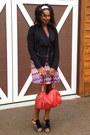 Purple-snap-dress-black-rampage-coat-red-b-makowksi-bag