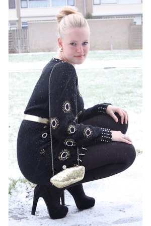 black vintage dress - black knitted Hema tights - gold shiny Accessorize bag