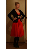 red thrifted vintage dress - black Hema tights - black vintage belt