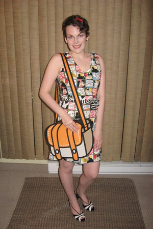 red modcloth necklace - Folter dress - carrot orange Jump From Paper purse