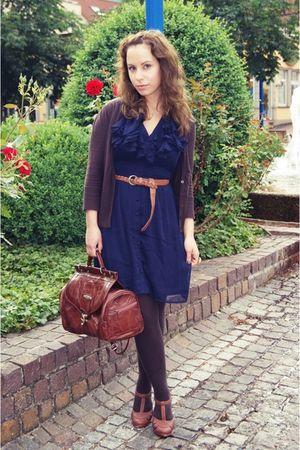 brown SOliver cardigan - blue H&M dress - brown vintage purse - brown Primark be