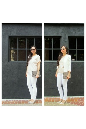 white jean H&M jeans - white ovi blazer - heather gray thrift accessories