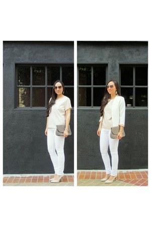 white jean H&M jeans - white ovi blazer - heather gray thrift accessories