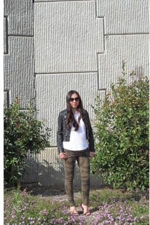 camo Zara pants - H&M jacket - Zara heels