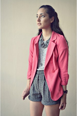 hot pink unknown blazer - heather gray Zara shirt - gray Zara shorts