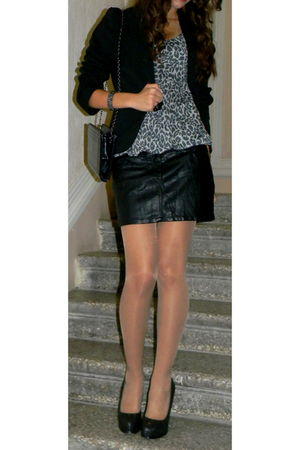 black Mango blazer - black Motivi skirt - Mango bag - black Forever 21 accessori