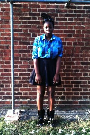 black doc martens boots - blue dont remeber shirt - blue Gap skirt - brown Ray B