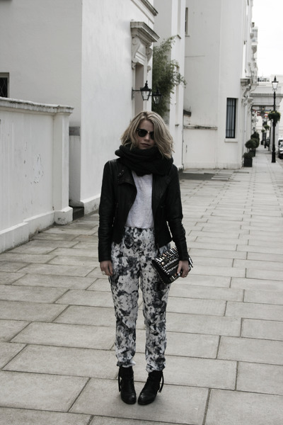 black acne boots - black Mango jacket - white acne top - black Topshop pants