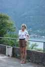Brown-river-island-shorts-white-acne-top-brown-dune-sandals