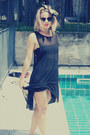 Black-topshop-dress-h-m-scarf-black-h-m-swimwear