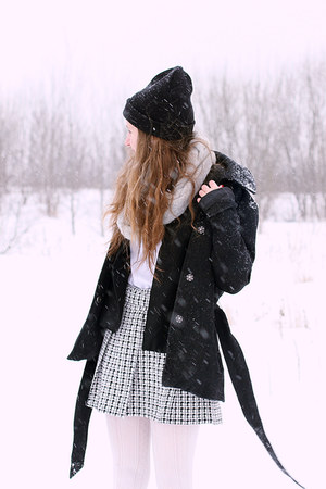 black Vero Moda coat - hat - silver Primark scarf - Primark cardigan