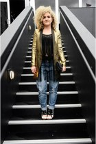 gold Rihanna for River Island coat - Target jeans - black Staring at Stars shirt
