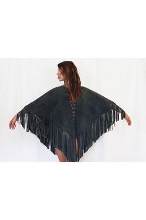 gray fringe Gypsy Gamine Vintage cape