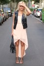 Peach-oasap-dress-black-leather-h-m-vest