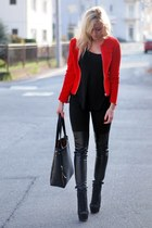 red Stradivarius blazer - black New Yorker leggings