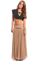 gold gypsy warrior necklace - tan maxi long swing gypsy warrior skirt