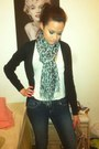 Dark-skinny-jeans-leopard-print-scarf-beige-bag-white-tank-top-top