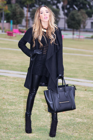 black Celine bag - black HAUTE &amp; REBELLIOUS coat