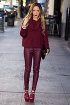 maroon sweater H&M sweater - maroon HAUTE & REBELLIOUS leggings