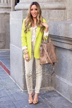 eggshell HAUTE & REBELLIOUS pants - yellow HAUTE & REBELLIOUS blazer