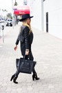 Black-zara-boots-navy-flat-brim-hat-haute-rebellious-hat
