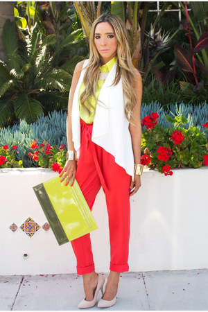 red HAUTE &amp; REBELLIOUS pants - off white HAUTE &amp; REBELLIOUS shoes