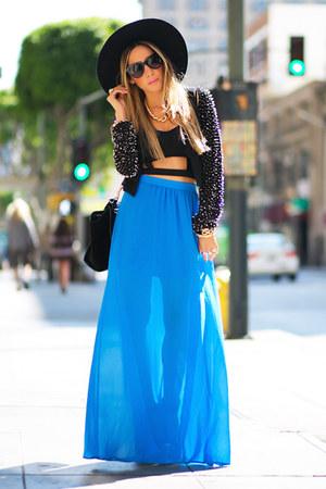 sky blue chiffon HAUTE & REBELLIOUS skirt - black vintage vintage hat